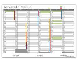 preview calendrier 2018 semestre 1 PDF et XLS
