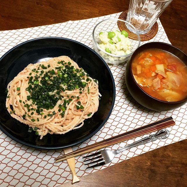 mikitabu2-22の#おうちごはん  ポテトサラダ ミネストローネ 和風たらこスパゲティ  最近スパゲティ多い〜 #晩御飯 #ヨルゴハン #夕飯 #料理 #料理写真 #ごはん #お家ごはん #献立 #夕食 #japanesefood #cooking #foodpic