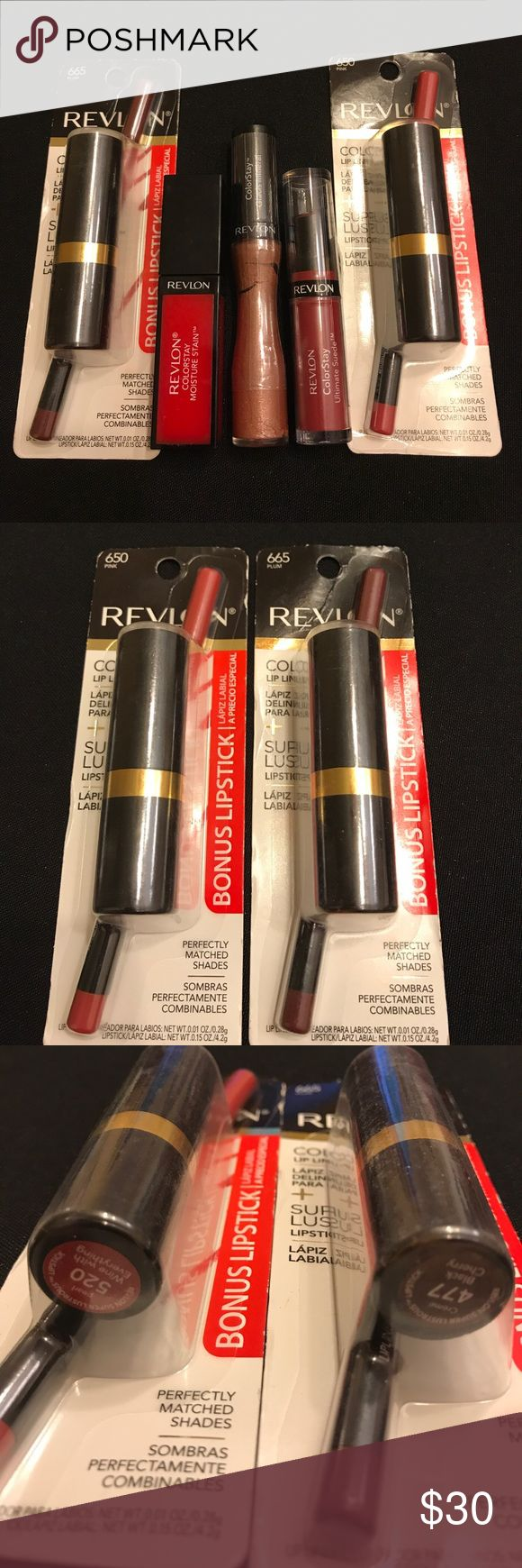Revlon Lipsticks & Lip Liners. All New Revlon Lipsticks & Lip Liners. All New revlon 650 Lip liner 520 wine with everything lipstick, Revlon 665 lip liner and 477 black cherry lipstick, color stay ultimate suede 02 genuine, Revlon color stay mineral lip glaze 530, Revlon color stay moist are staying 040 Sanguine sizzle Price is for all. :) Revlon Makeup Lipstick