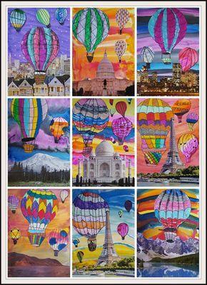 Kunst in der Grundschule: Heißluftballons