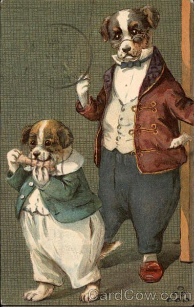 Two Dogs in Suits - Publisher: Ernest Nister - Postmark/Cancel: Nov. 26, 1905, In Tacoma, WA