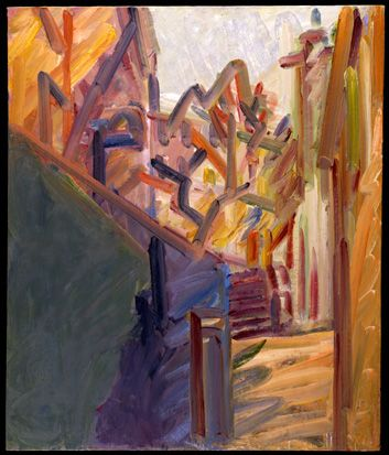 Frank Auerbach - The Tree Opposite 2008-9 (large), 2008-2009  oil on canvas  132 x 112.4 cm.(52 x 44 1/4 in.)