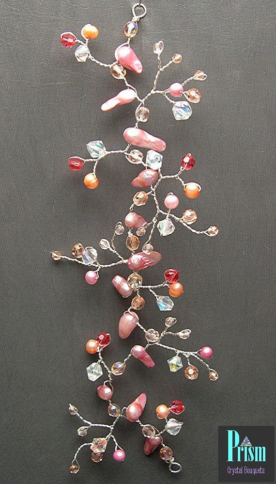Peachy Pink Crystal and Pearl Hair Vine by PrismBouquets on Etsy, $28.00