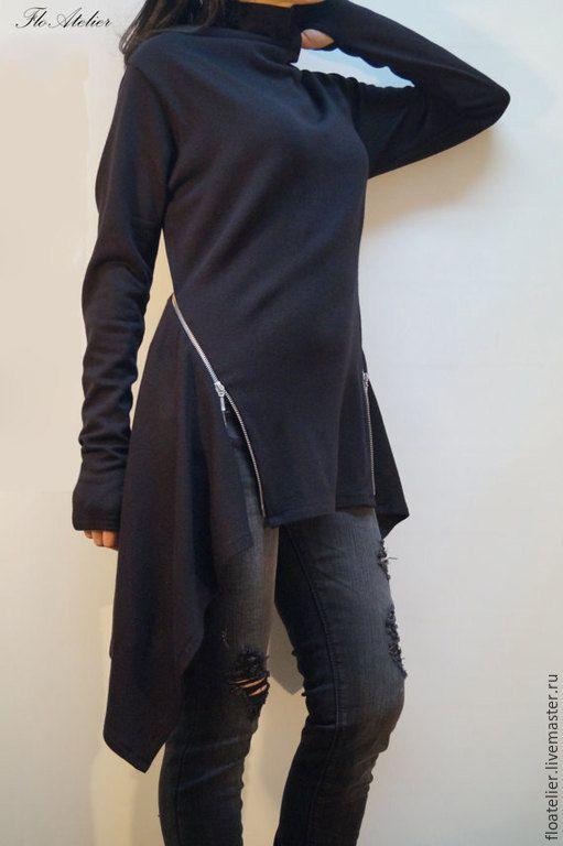 Купить Черный ассиметричный свитер с молнией/Трикотажное платье/F1258 - черный, свитер, свитер женский, свитер теплый