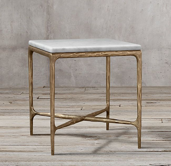 Thaddeus Forged Brass Marble Square Side Table In 2019