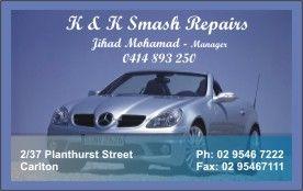 Business cards for Smash Repair, Carlton, NSW