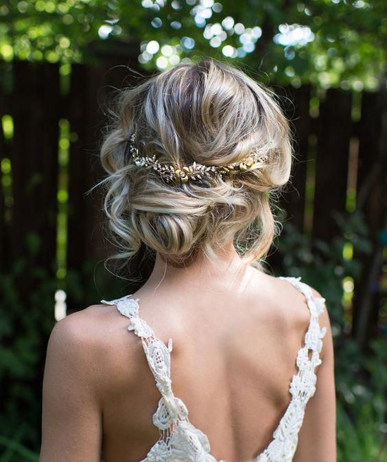 Boho Halo Hair Vine, Grecian Gold Hair Wreath, Gold Flower headband, Vintage Style Wedding Hair Vine – 'EMBER'