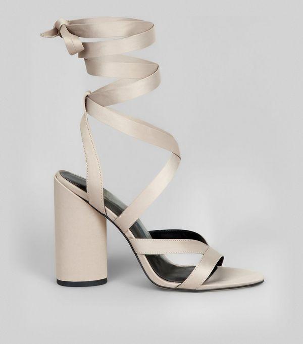 33£ Grey Satin Tie Up Block Heels | New Look