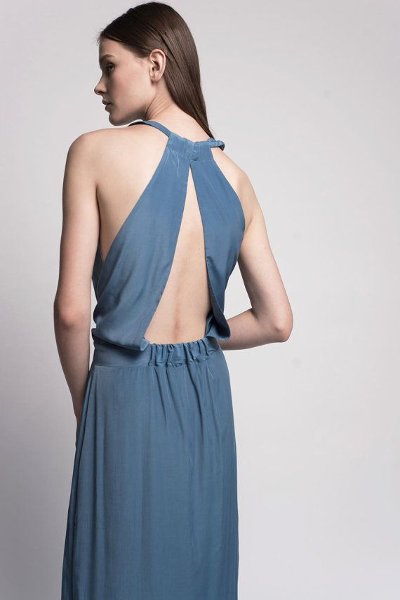 SALE 15 Blue Maxi Evening Dress With An Open Back by Lennyfashion, $180.00