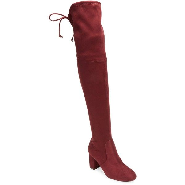 Charles by Charles David Women's Over the Knee Boot - Red, Size 10 ($79) ❤ liked on Polyvore featuring shoes, boots, red, thigh high platform boots, red boots, red thigh high boots, charles by charles david over the knee boots and thigh high boots
