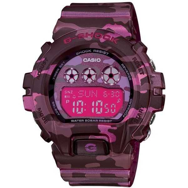 G-Shock Women's Digital Pink Camouflage Resin Strap Watch 48x46mm... ($130) ❤ liked on Polyvore featuring jewelry, watches, sport watch, pink watches, digital wrist watch, pink wrist watch and pink jewelry