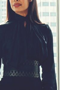 Jessica Pearson - Love the high neck, don't think I could pull off the super wide belt