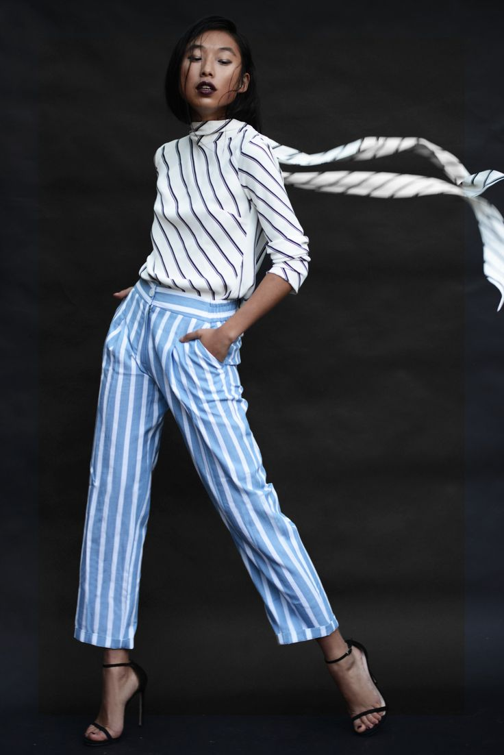 Margaret Zhang from Shine by Three for Grazia Italia: striped pants and blouse