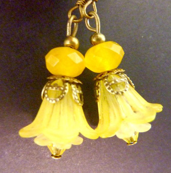 Lemon yellow earrings yellow flower earrings by Dewdropsdreams, $16.00 https://www.etsy.com/listing/97674492/lemon-yellow-earrings-yellow-flower?ref=shop_home_active
