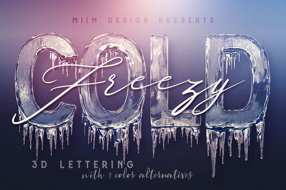 Ice Cold 3d Lettering Winter Fonts Graphic Design Resources