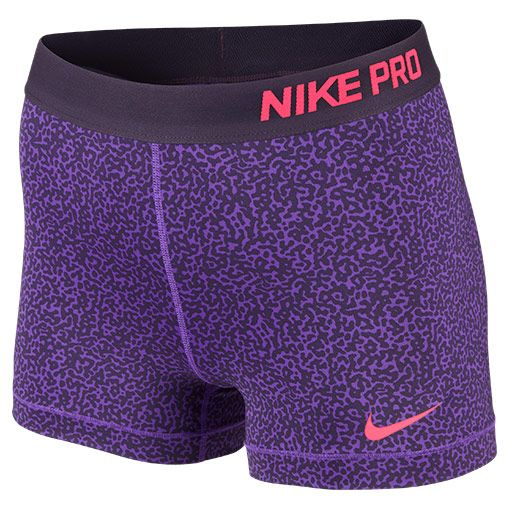 Women's Nike 3 Inch Pro Core Compression Printed Shorts | Finish Line | Hyper Grape/Hyper Punch