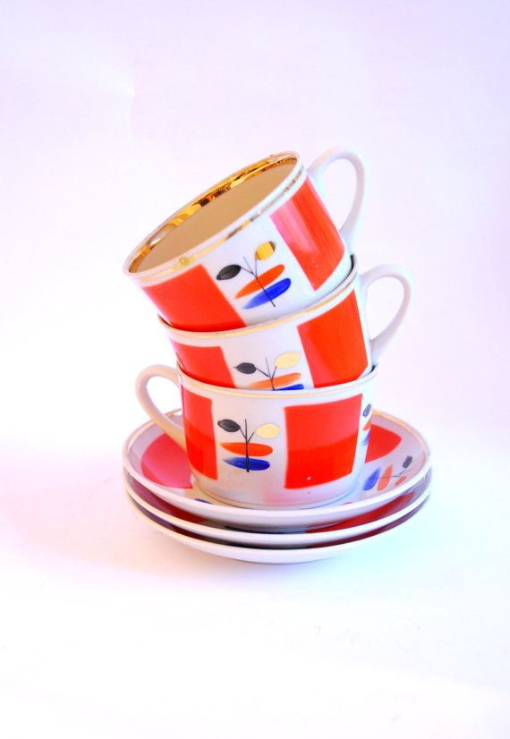 Set of 3 Vintage Soviet Coffee Cups / Tea Cups 3 pcs by aveing