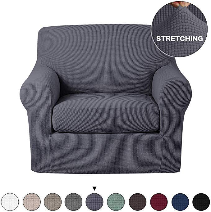 Turquoize 2 Piece Sofa Slipcover Stretch Chair Slipcovers With Elastic Bottom Sofa Chair Furniture Protector Jacquard Stretch Couch Cover High Spandex Chair Cov Slipcovers For Chairs Couch Covers Slipcovers