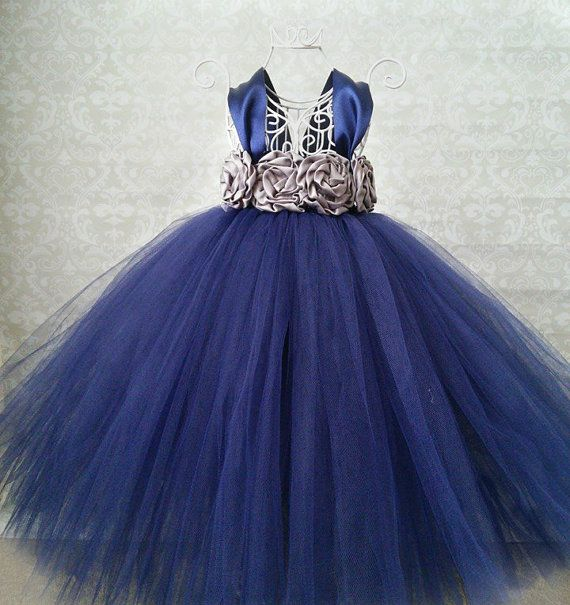 Navy Flower Girl Dress by GigglesandWiggles1 on Etsy