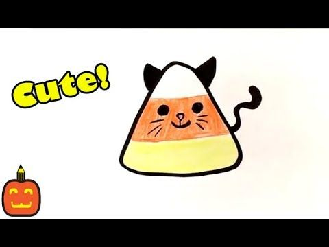 How to Draw Cute Candy Corn - Cat Version - Halloween ...