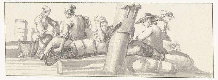 Louis Ducros | Bemanning en reizigers op de boot, Louis Ducros, 1778 | Tekening uit het album 'Voyage en Italie, en Sicile et à Malte', 1778.