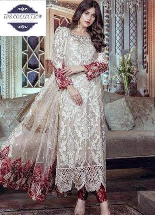 88e99010c67d9 Maria B Chiffon Dresses - Embroidered Net Dupatta - Replica - Unstitched