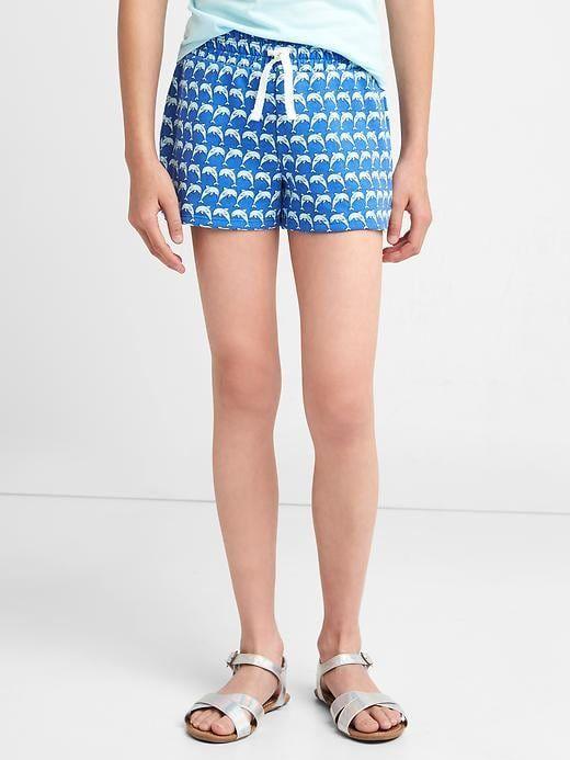 Gap Girls Print Terry Dolphin Shorts Clear Ocean