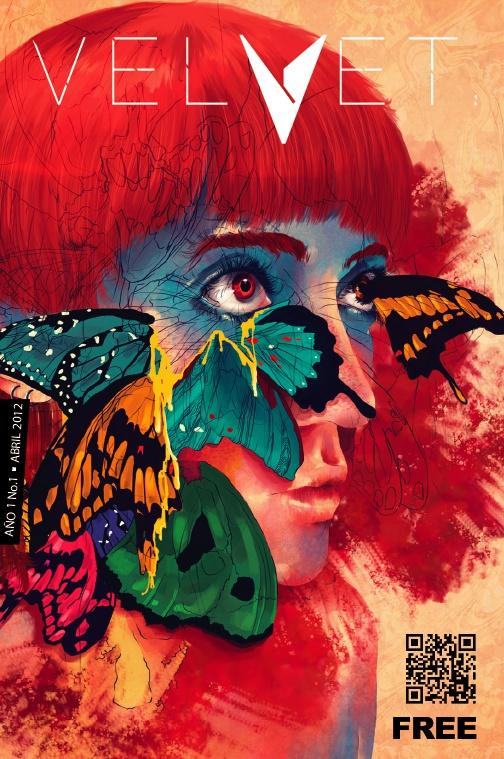 """Portada Revista Velvet Año1 No. 1 """"Des trains des arbres para las mariposas"""" por Carolina Rodriguez Fuenmayor"""