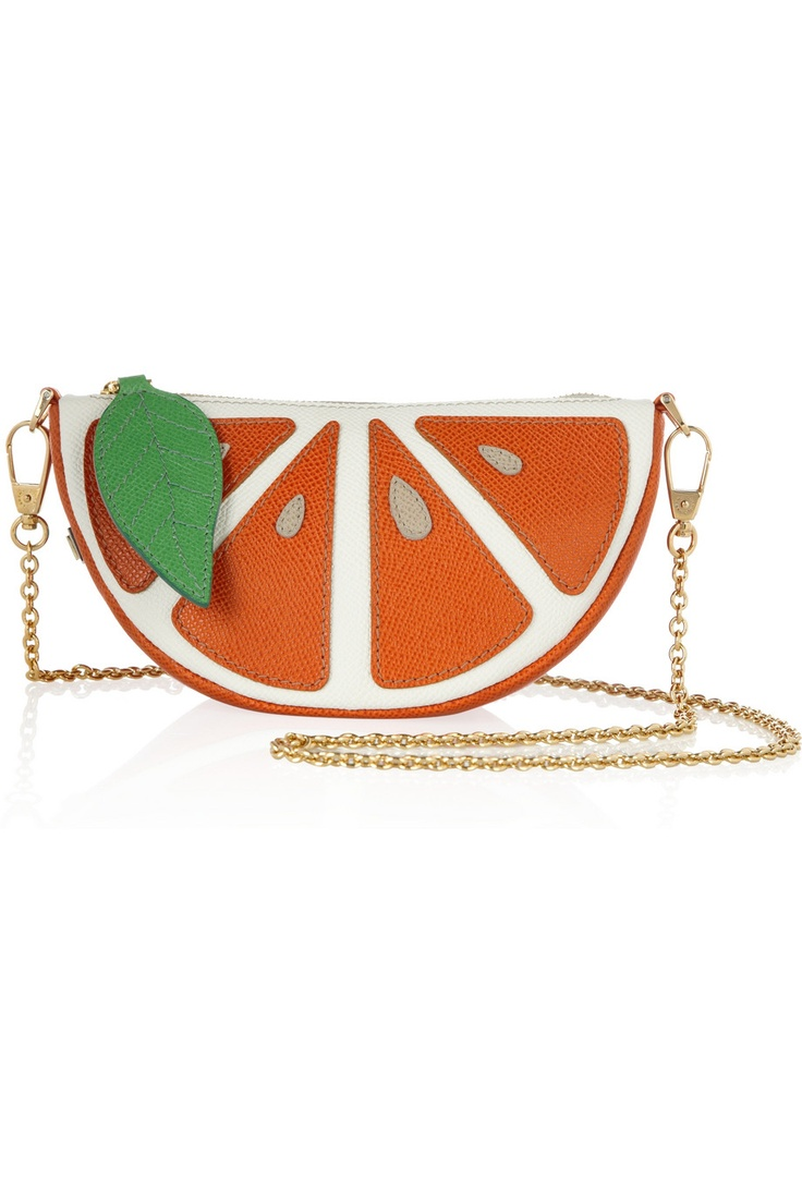 Dolce \u0026 Gabbana Textured-leather orange segment shoulder bag and other  apparel, accessories and trends.