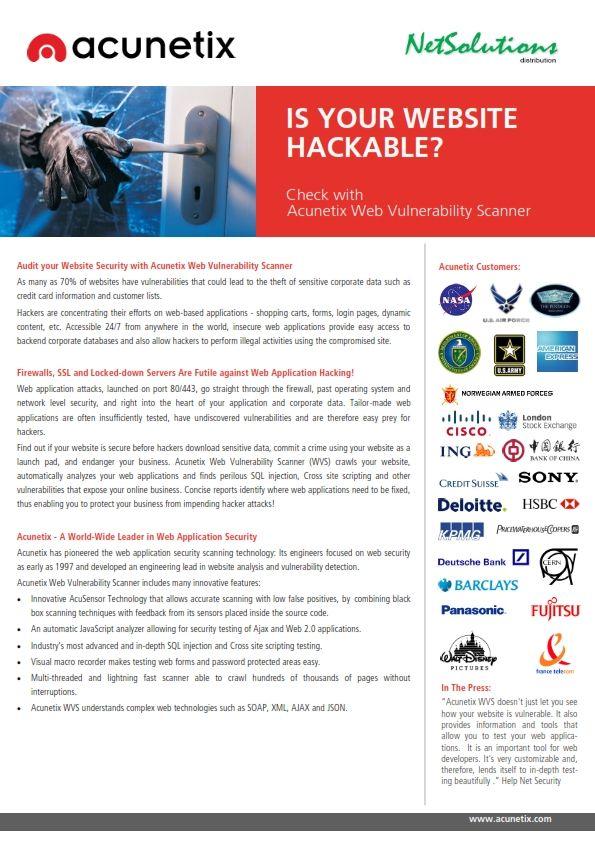 PT. #Netsolutions Infonet #acunetix Web Vulnerability Scanner