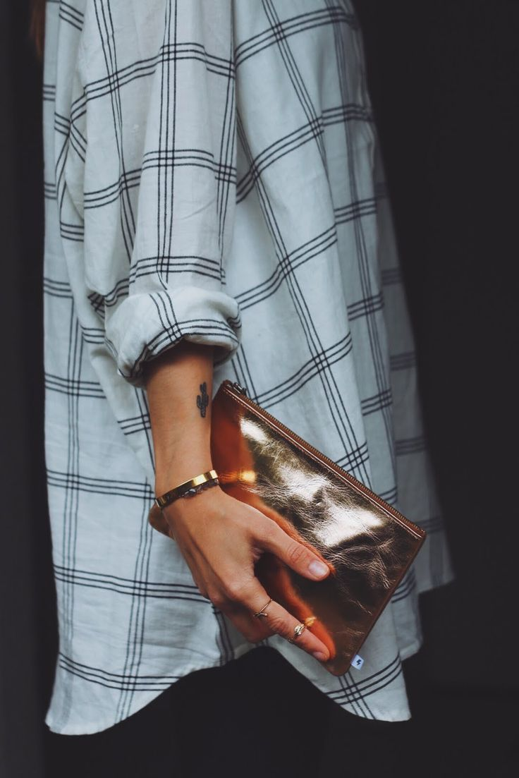 White and black flannel . CACTUS TATTOO GOLD CLUTCH this has ME written all over it