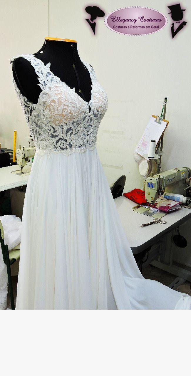 Vestido de noiva para ajustar e bordar com pedrarias  #casamento2018 #casamentosp #vireinoiva #casandoem2018