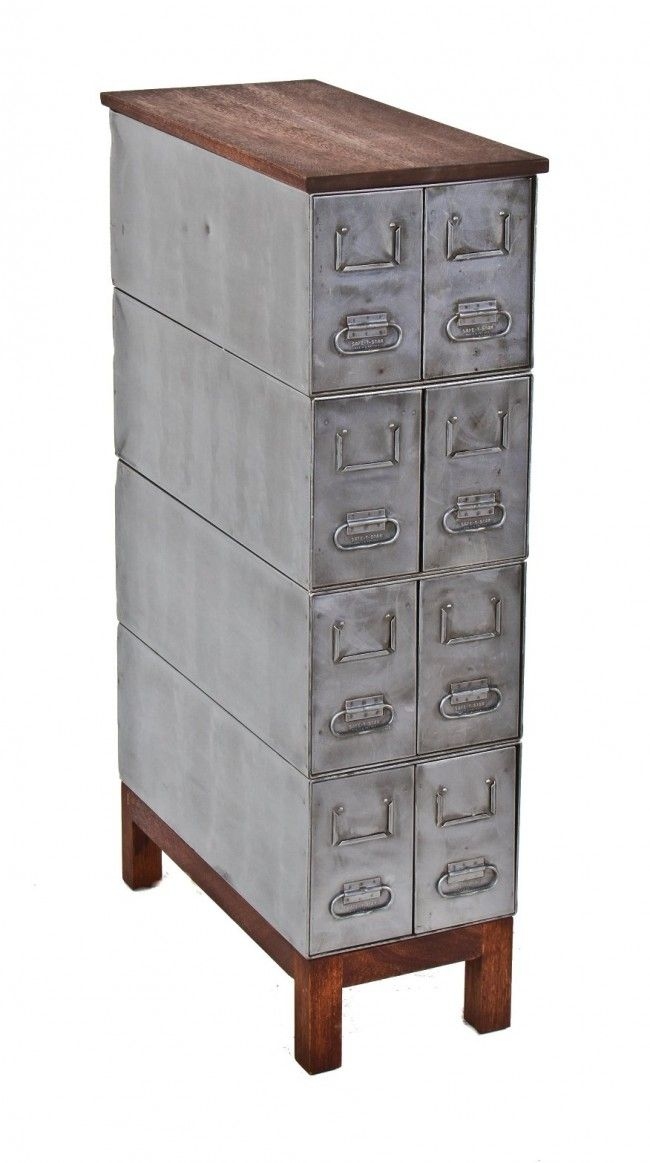 1709 best industrial images on pinterest vintage industrial repurposed american industrial safe t stak brushed metal compartmentalized freestanding cabinet with malvernweather Choice Image
