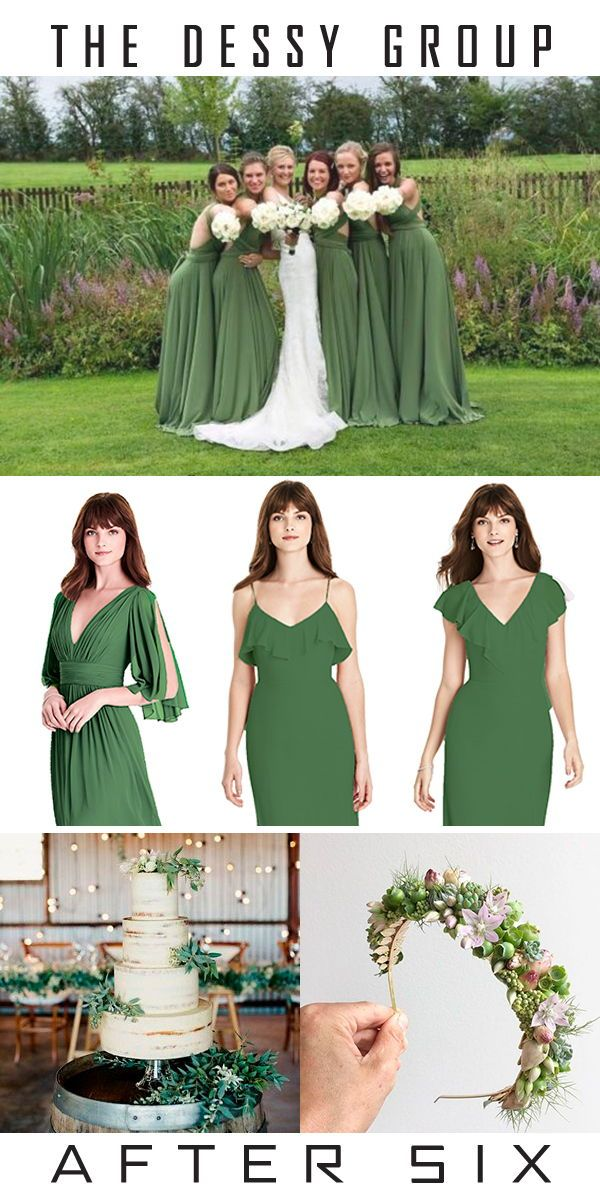 0cd673f539 Green bridesmaids dresses are always perfect year round. Whether it's the  spring or winter, green is perfect. Vineyard Green from The Dessy Group.