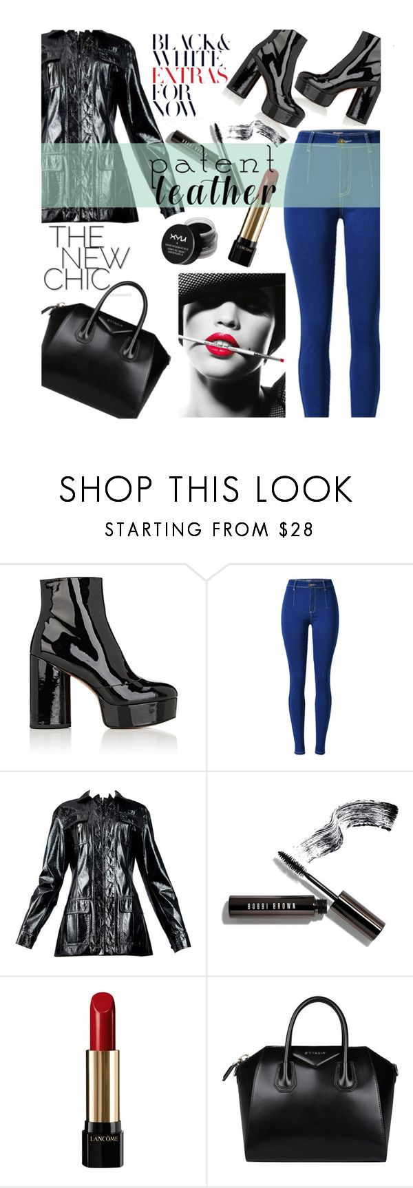 """""""patent leather + red lips"""" by smillafrilla ❤ liked on Polyvore featuring Marc Jacobs, Bobbi Brown Cosmetics, Lancôme, Givenchy, MAKE UP FOR EVER and NYX"""