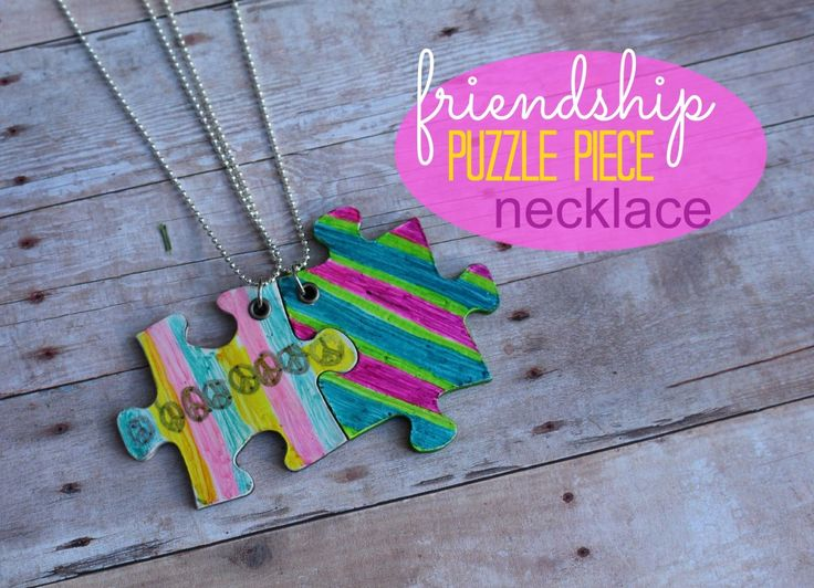 friendship necklace....with puzzle pieces! (kid craft monday) - A girl and a glue gun