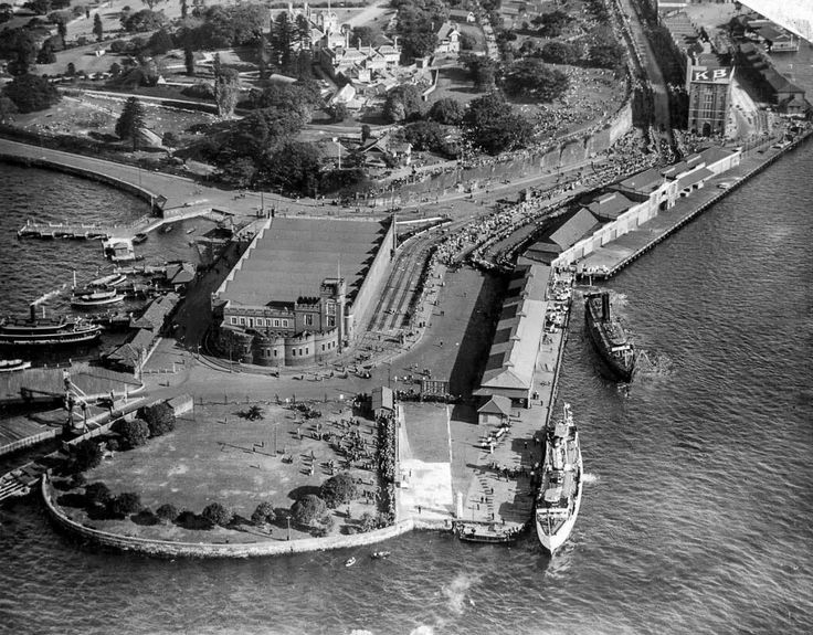 The tram shed at Bennelong Point before the Sydney Opera House was built in Sydney in 1952.