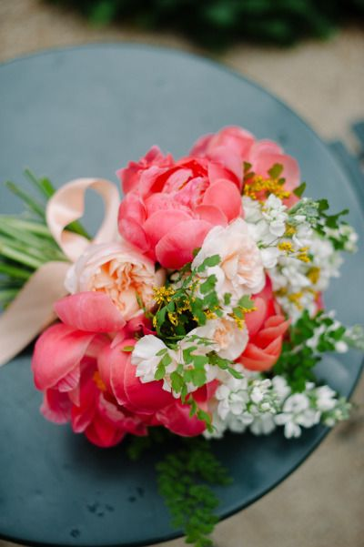 #coral #peony bouquet |Photography by dlweddings.com, Florals by http://michelleedgemont.com/blog  Read more - http://www.stylemepretty.com/2013/09/06/new-york-city-wedding-from-divine-light-photography/