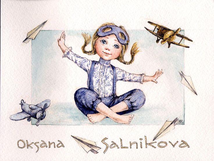 по мотивам работ Оксаны Сальниковой bears dolls toys watercolor postcards