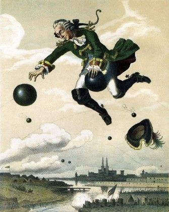 """""""Munchausen rides the cannonball,"""" as pictured by August von Wille, 1872"""