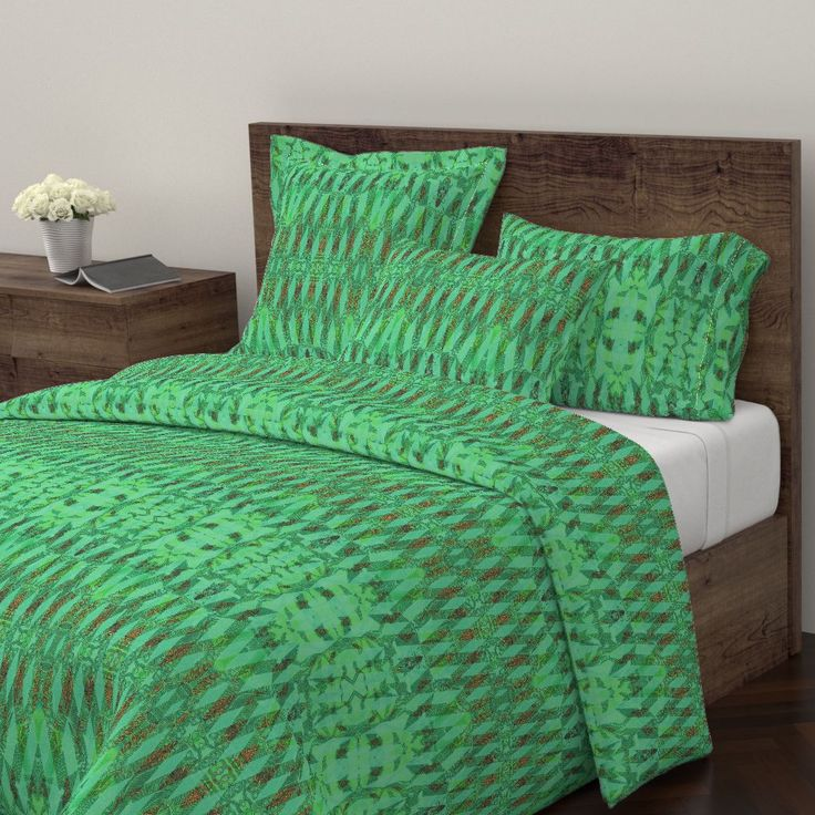 Wyandotte Duvet Cover featuring KELP  TURQUOISE MORNING by joancaronil | Roostery Home Decor