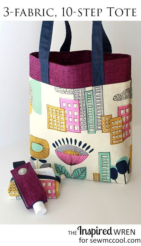 Learn how to sew a tote with three fabrics, in only 10 steps! By The Inspired Wren on sewmccool.com. You'll love the ease of sewing this tote!