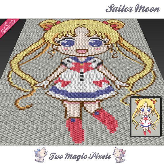 Sailor Moon crochet graph/pattern PDF download by TwoMagicPixels