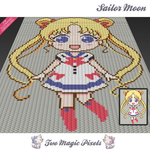 Sailor Moon is a crochet blanket pattern featuring a chibi version of the Japanese anime character Sailor Moon.  This graph design is 90 squares wide by 118 squares high.  Pattern PDF includes: - color illustration for reference - color square pattern  Image only, no written counts.  This listing is for a digital pattern only. The PDF file of the pattern will be available for instant download once payment is confirmed. If you have any questions about the pattern or the download process…