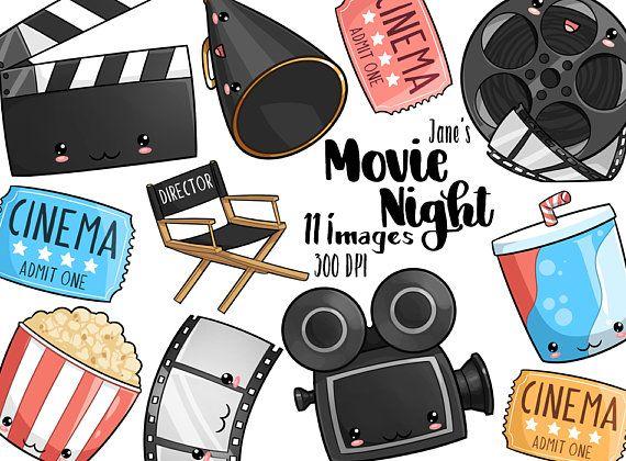 Popcorn kawaii. Movie night clipart cute