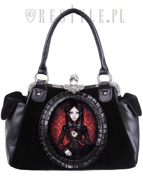 Restyle Red Doll Rose Fl Gothic Skull Emo Occult Punk Purse Handbag Fearless Arel