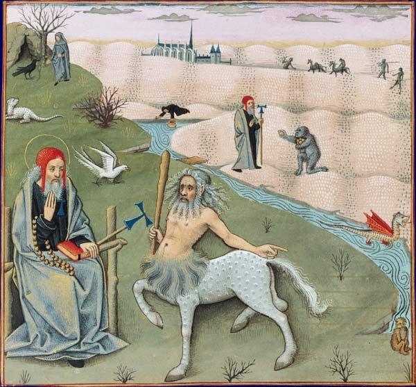 Saint Antoine et le centaure, Secrets d'histoire naturelle, d'après Solin, 1480-1485. Illustré par Robinet Testart. BNF, Manuscrits, Français 22971 fol. 16v