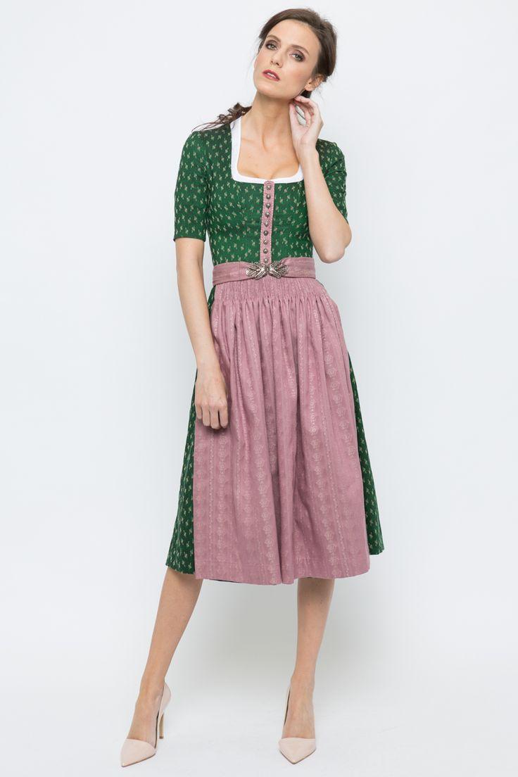 Midi Dirndl Carla, grün/rosa   Gottseidank   online bestellen   Ludwig & Therese