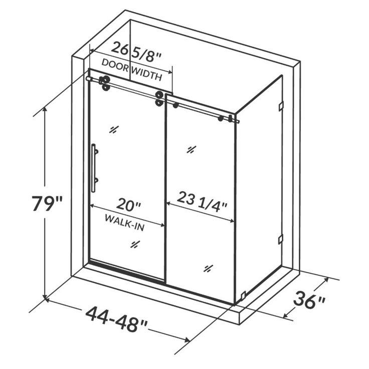 "Ultra-D 48"" x 36"" x 79"" Sliding High Glass Shower Enclosure"