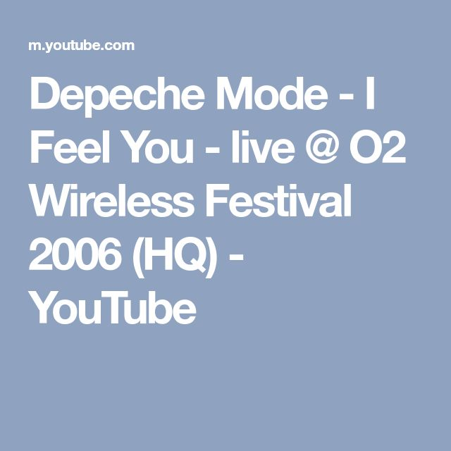 Depeche Mode - I Feel You - live @ O2 Wireless Festival 2006 (HQ) - YouTube